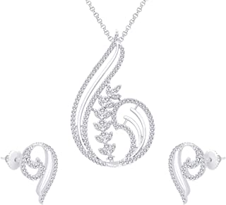 Viyari Indian Paisley Silvertone Pendant Necklace Earrings Jewelry Set with Swiss Cubic Zirconia