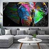 HCHD Colorido Elefante Africano Animal Pintura al óleo sobre Lienzo Pintura Arte de Pared Cuadros for la Sala de Estar Dormitorio No Frame (Size : 70x140cm)