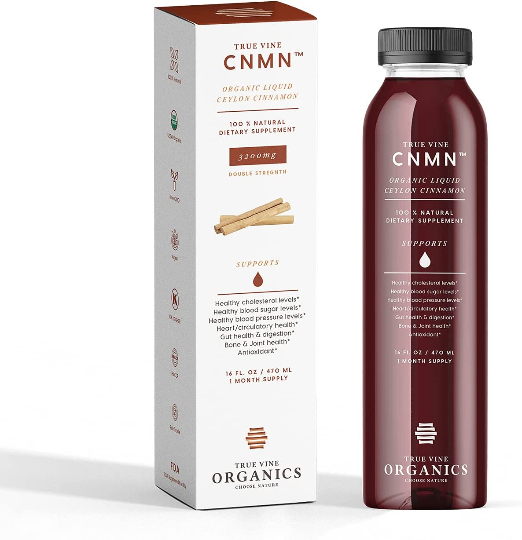 3200mg Liquid Ceylon Cinnamon Supplement Support for Healthy Cholesterol, Blood Sugar,Heart& Joints, Anti-inflammatory & Antioxidant.100% Natural & USDA Organic True Vine CNMN - 16 fl.oz(31 Doses)