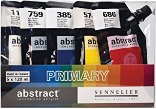 Sennelier Abstract Innovative Heavy Body Acrylic Paint, 120ml Pouch, Primary Color Set of 5