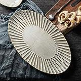 BOOMZZ Hause Keramik Geschirr Teller Ovale Schale Schale Große Fischplatte Sauce 37CM x 22CM beige