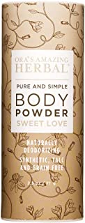 Natural Body Powder, Dusting Powder, No Talc, Corn, Grain or Gluten, Sweet Love Scent (Essential Oils Vanilla Amber Ylang Ylang and Frankincense), Non GMO, Ora's Amazing Herbal (Sweet Love Scent)