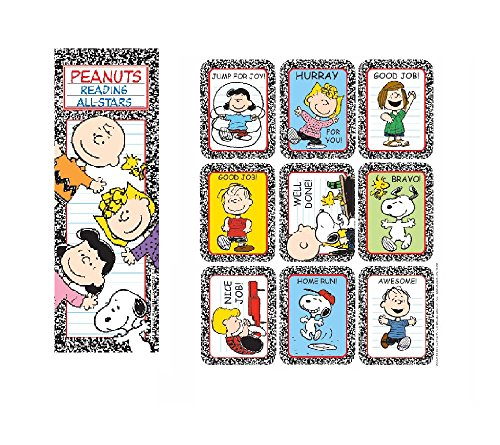 Peanuts Charlie Brown Snoopy - 36 Bookmarks & 36 Stickers - Reading All-Stars Rewards Classroom Teacher - Party Favors - Doctor Dentist Motivational