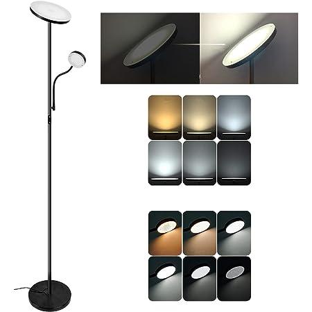 Lampadaire 2 LEDs, Infinite Dimmable Lampe Sur Pied, uplight mère/principale 20W 1800 lumens, lampe de lecture enfant/latérale 4W 280 lumens, métal, noir,hauteur 178 CM dernière design