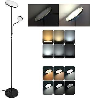 Lampadaire 2 LEDs, Infinite Dimmable Lampe Sur Pied, uplight mère/principale 20W 1800 lumens, lampe de lecture enfant/laté...