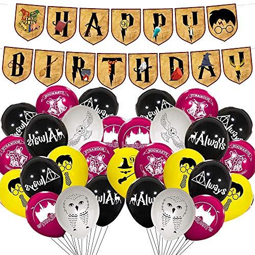 Banners de cumpleaños,Wizard suministros para fiesta de cumpleaños, PAWT Wizard Party Enrejado Globos para niños Fiesta de cumpleaños Decoraciones mágicas para fiestas