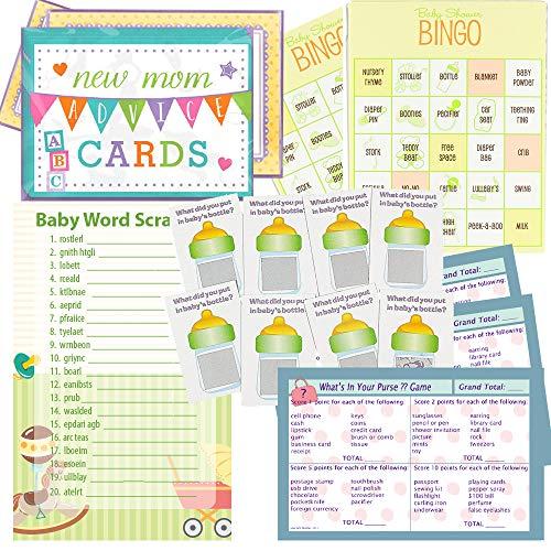 Baby Shower Juegos Set para 24–Baby Shower, Whats en su Bolso Juego de bingo, palabra Scramble, cero entradas y Asesoramiento Nueva Mamá Tarjetas