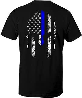 Thin Blue Line Spartan USA Flag Men's T Shirt