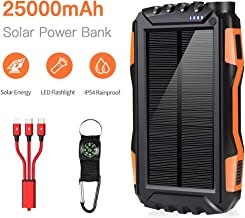 Solar Chargers - Solar Power Bank 25000 mAh Portable Power Bank Solar Battery Charger Dual USB Waterproof 2 Led Light Flashlight with Compass for Camping Outdoor for Smartphones