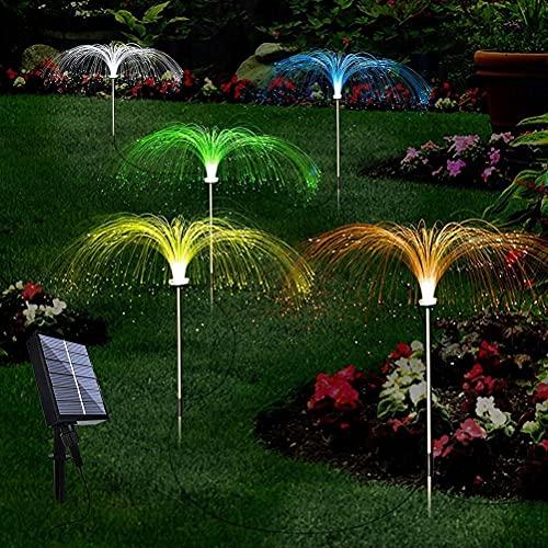 Luces solares de jardín, luz fibra a prueba lluvia, lámpara camino, césped, 5 piezas (4 paisajes+1 panel carga solar) para exteriores luces seguridad entrada, patio, césped