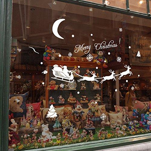 Lumanuby 1 Stück Christmas Wall Stickers Kreativer Weihnachtsmann und Laufender Elch Schlitten Wandtattoo, Glücklich Wanddekoration zum Feiern von Weihnachten/Neujahr,Weiss Farbe