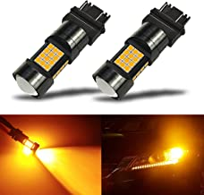 iBrightstar Newest Extremely Bright 36-SMD 3030 Chipsets 3156 3157 3057 4157 LED Bulbs with Projector Lens Replacement for Turn Signal Lights, Amber Yellow