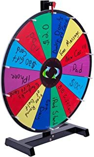 """Promotional Prize Wheel with 24"""" Write-on Surface for Wet or Dry-Erase Markers, 14 Prize Slots, Black Wooden Base for Tabletop Use, Carrying Bag Included"""