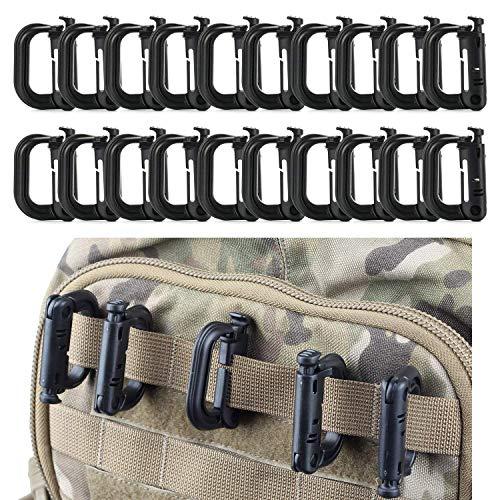Flying swallow 20 Stück Karabiner Clip Verschluss Klein Plastik D Ring Schlüsselanhänger für Rucksack and MOLLE System Zubehör (Black)