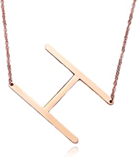 RINHOO Big Large Initial Necklace Stainless Steel Rose Gold Letter Chain Script Name Pendant for Girl Women's Gift