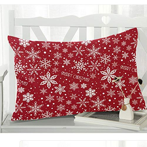 WECE Christmas Characters Crimson Snowflake Pillowcase - Pillowcase with Zipper, Pillow Protector, Best Pillow Cover - Size 20x30 inches,Merry Xmas Christmas Eve, Great Decoration for Christmas