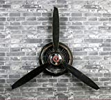 HTDZDX Manualidades, Decoraciones de Relojes de Pared, decoración de Paredes, hélices para Aviones, Paredes Decorativas, decoración de Viento Industrial, tapices. (Color : Negro)