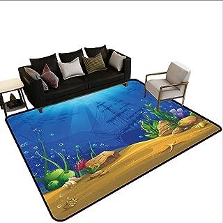 Aquarium Area Rugs, Marine Life Landscape Sunken Ship Silhouette Corals Fishes Tropics Chair Mat Rug Floor Carpet for Bedroom Living Room, 4' x 6' Blue Light Coffee Green