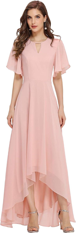 Ever-Pretty High Low Chiffon Dress Ruffle Sleeve Maxi Bridesmaid Dresses for Women 0318