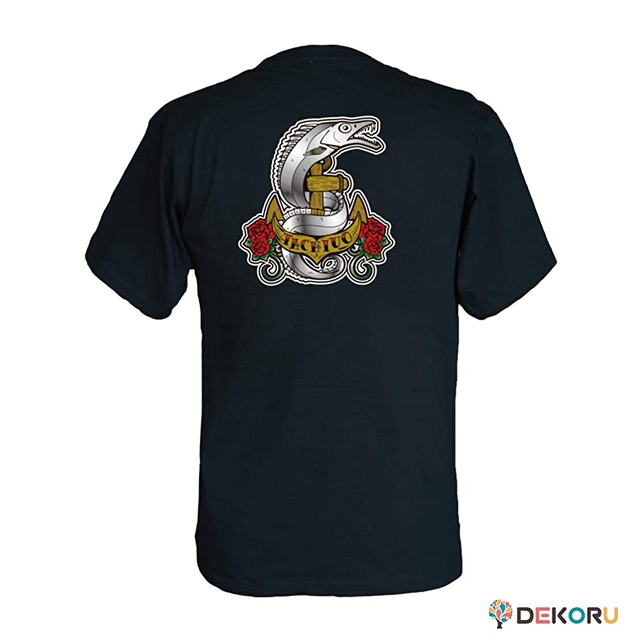 誓う通知する許容できるフィッシングTシャツ GYOTTOO タチウオ バックプリント 黒