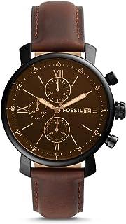 Fossil Rhett - Montre chronographe avec Cadran Noir et Bracelet en Cuir Marron pour Homme BQ2459