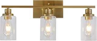 3 Lights MELUCEE Sconces Wall Lighting Brass Contemporary Bathroom Vanity Light Fixtures Wall Lights Bedroom Porch Living Room Kitchen with Clear Glass Shade