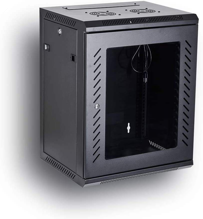 Black 09U Server Rack Data Network Enclosure 19-Inch Server Network Rack with Locking Tempered Glass Door Fully Assembled KENUCO Deluxe IT Wall Mount Cabinet