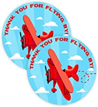 POP parties Red Airplane Party Favor Stickers - 40 Favor Bag Stickers - Airplane Party Thank You Tag - Red Airplane Party Supplies - Red Airplane Party Decorations - Stickers