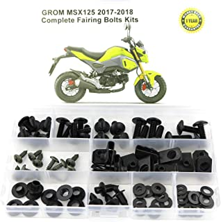 Xitomer Full Sets Fairing Bolts Kits, for HONDA GROM MSX125 2017-2018, Mounting Kits Washers/Nuts/Fastenings/Clips/Grommets (black)
