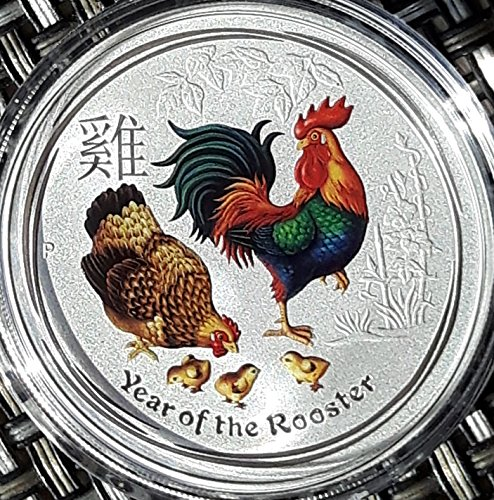 Lunar Hahn 2017 farbig coloriert 1 Unze Silber Münze Silbermünze Australien 1 oz silber in Münzkapsel