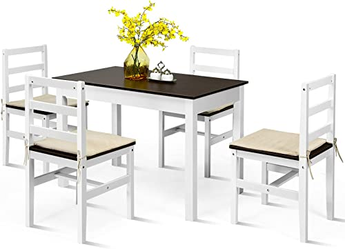 Giantex 5-Piece Dining Table Set, Rectangular Kitchen Table and Chairs Set with 4 Ropes Cushion, Pine Wood Compact Dinette Set for Kitchen, Dining Room, Small Space, Apartment (Walnut+White)