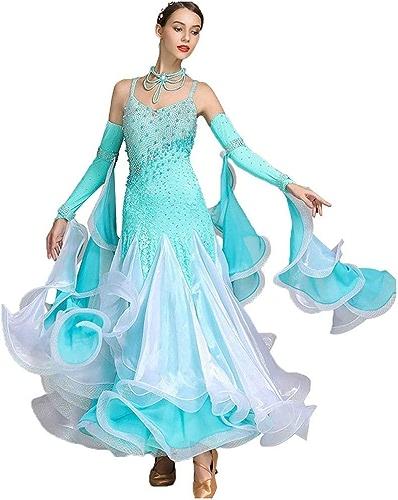 LRR Robes De Danse Modernes Lyriques sans Manches pour Femmes , Costume De Danse Concours De Danse Classique Stretchy Tango (Couleur   Bleu, Taille   M)