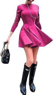 WangsCanis adatti ad annata delle donne vestito sexy elegante autunno solido di colore girocollo manica lunga una linea di...