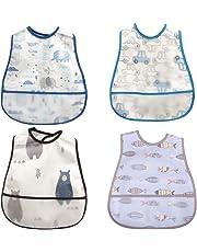 食事用エプロン ベビー 保育園 離乳食 スタイ 汚いにくい 洗いやすいと乾きやすい 4枚(ブルー)