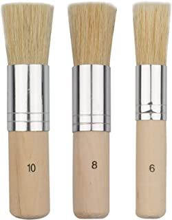 URlighting Wooden Stencil Brush (3 Pcs) - Natural Bristle Paint Brush for Acrylic Painting, Oil Painting, Watercolor Paint...