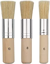Evenwils Wooden Stencil Brush (3 Pcs) - Natural Bristle Paint Brush for Acrylic Painting, Oil Painting, Watercolor Paintin...