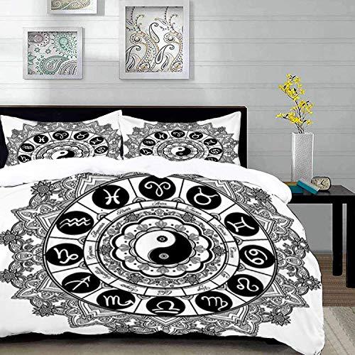 ropa de cama: juego de funda nórdica, Ying Yang, diseño de tema redondo del zodiaco con símbolo YIn Yang en el centro, estampado de signos astrológicos, Bla, juego de funda nórdica de microfib
