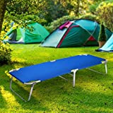 Magshion Portable Military Fold Up Camping Bed Cot with  Storage Bag, Blue