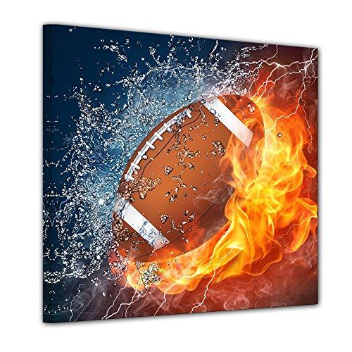 Wandbild - Football - Feuer und EIS - Bild auf Leinwand - 40x40 cm einteilig - Leinwandbilder - Urban & Graphic - Sport - Amerika - Kampf der Elemente - Wasser und Feuer