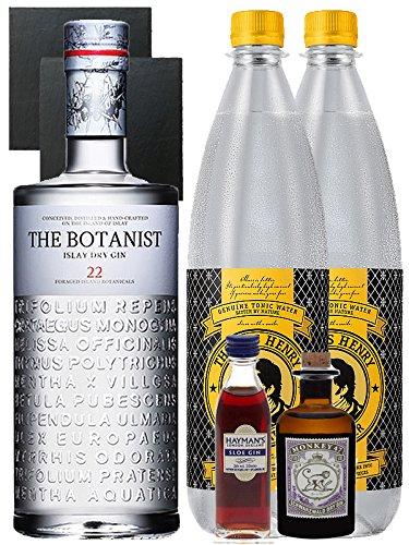 Gin-Set The Botanist Islay Dry Gin 0,7 Liter + Haymans Sloe Gin 5cl + Monkey 47 Schwarzwald Dry Gin 5cl MINIATUR + 2 x Thomas Henry Tonic Water 1,0 Liter + 2 Schieferuntersetzer quadratisch 9,5 cm