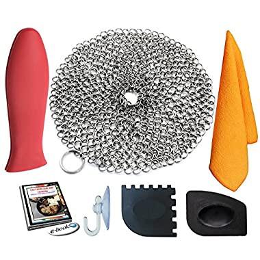 KitCast (6 in One + e Book)- Cast Iron Scrubber (7  Circle) Premium Stainless Steel Chainmail Cleaner With Bonus Hot Handle Holder + Pan Scraper + Grill Scraper + Kitchen Towel + Drying Hook