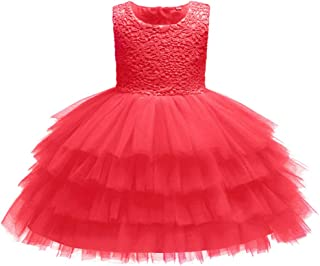XFentech Baby Dress - Girl Princess Wedding Bridesmaid Pageant Birthday Party Dress Sleeveless Dresses Girl Clothes,Red,6M(4-6 Months)