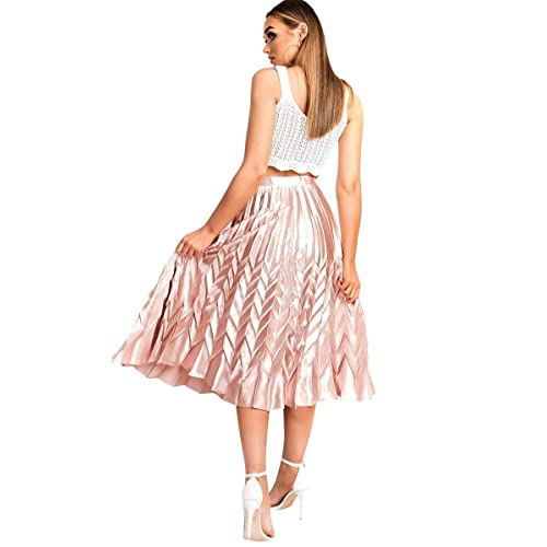 d473d8ecdaad Ikrush Womens Gabbana Metallic Pleated Midi Skirt Rose