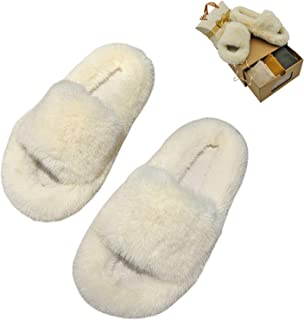 House Slippers for Women, Fuzzy Slippers and Cotton Socks Gift Box for Women Girls