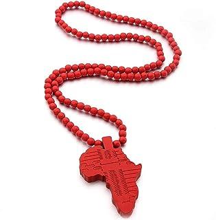 ملون بلينغ متعدد الألوان 8 ملليمتر الخشب الخرزة سلسلة أفريقيا الهيب هوب خريطة أفريقيا قلادة قلادة للرجال الأولاد مجوهرات ا...