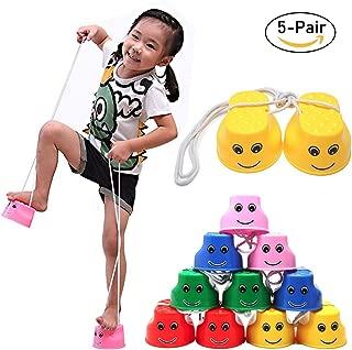 Beedool 5 Pair Jumping Stilts Children Balance Walk Stilt Plastic Stilts Child Toys Training Stilts Outdoor Games Trainers Toys