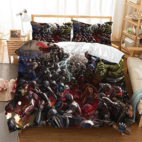 The Avengers - Juego de cama de 3 piezas con funda nórdica y 2 fundas de almohada 100% microfibra hipoalergénica, con cierre de Spiderman (R5,220 x 260 cm)