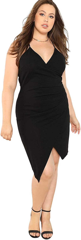 Milumia Women's Plus Size V Neck Wrap Cami Dress Asymmetrical Hem Ruched Party Dress