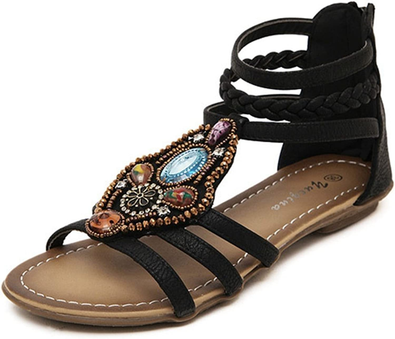 CYBLING Fashion Open Toe Roman Bohemian Sandals for Women Flat Beach Strap shoes