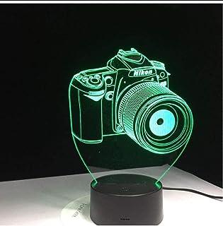 ZAWAGU Luz de noche Luces decorativas Regalos Neón Mesita de noche 7 colores 3D Cámara de arte LED Lámpara de ilusión Lámpara de mesa Usb Lámpara de mesita romántica Lámpara Acrílico Entretenimiento